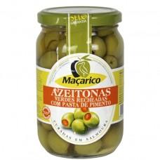Зеленые оливки без косточки с паприкой, 220 г, Maçarico