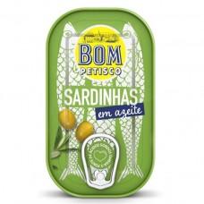 Сардины в оливковом масле, 120 г, Bom Petisco